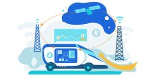 Self Driving Car. Artificial Intelligence Vehicle. Driverless Autonomus Robot Technology with Gps System. Futuristic Autopilot Navigation Control. Automotive stock illustration