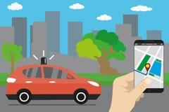 Self driving car,city landmark. Cartoon future transport concept,smartphone in hand,flat vector illustration royalty free illustration