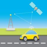 Self driving car concept cartoon infographic. Autopilot car vector illustration