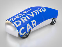 Self-driving car. Is covered Royalty Free Stock Photos
