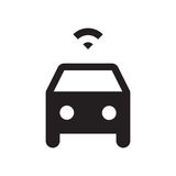 Self driving car - Glyph Icon - Black. Self driving, connected, smart, autonomous, driverless car Royalty Free Stock Photos