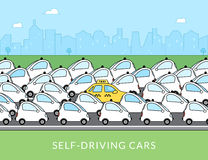 Self-driving car infographic illustration Stock Photos