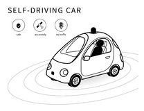 Self-driving car line icon Royalty Free Stock Image