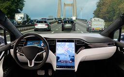 Self driving car on a road royalty free stock photos