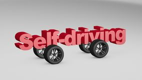 Self-driving 3D illustration. Self-driving concept design with 3D render illustration Royalty Free Stock Photography