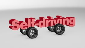 Self-driving 3D illustration. Self-driving concept design with 3D render illustration Stock Photos