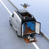 Self-driving delivery robots and van Royalty Free Stock Photos