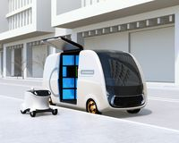 Self-driving delivery van and drone in the street. Last one mile concept. 3D rendering image Stock Image