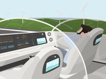 Self-driving electric car goes with relaxing passenger. Autonomous intelligent car with glass roof. Happy man sitting in Stock Images