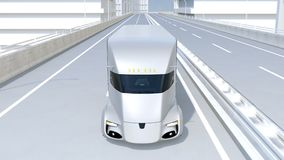 Self-driving electric semi truck driving on highway. 3D rendering animation stock video footage