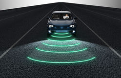 Self driving electronic computer car on road Stock Photography