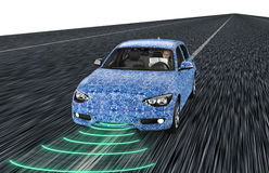 Self driving electronic computer car on road. 3d illustration royalty free illustration