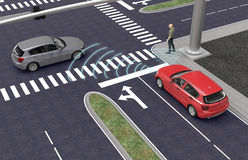 Self driving electronic computer cars on road. 3d illustration royalty free illustration