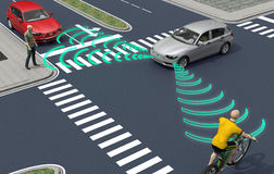 Self driving electronic computer cars on road Stock Image