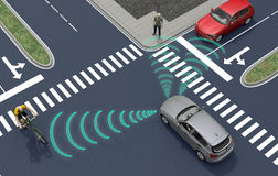 Self driving electronic computer cars on road. 3d illustration Stock Images