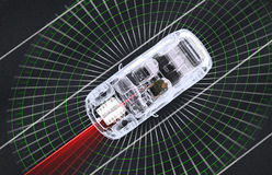 Self driving electronic computer cars on road Royalty Free Stock Image
