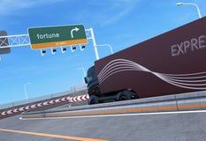 Self driving hybrid truck on highway royalty free illustration