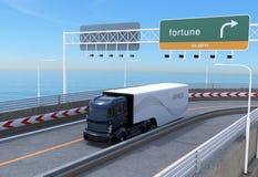 Self driving hybrid truck on highway vector illustration