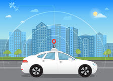 Self-driving intelligent driverless car goes through the city using modern navigation. Gps technology adapted for navigation sensor and satellite stock illustration
