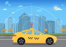Self-driving intelligent driverless taxi car goes through the city using modern navigation gps. Technology adapted for navigation sensor and satellite stock illustration