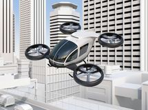 Self-driving passenger drone flying over a highway bridge which in heavy traffic jam. 3D rendering image stock illustration