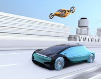 Self-driving Passenger Drone Taxi flying over an autonomous electric car driving on the highway. MaaS concept. 3D rendering image stock illustration