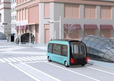 Self-driving shuttle bus driving through a intersection. A man waiting the bus in bus stop. 3D rendering image stock illustration