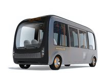 Self-driving shuttle bus isolated on white background. 3D rendering image royalty free illustration