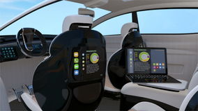 Self-driving SUV interior concept stock footage