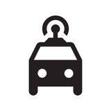 Self driving taxi - Glyph Icon - Black. Self driving, connected, smart, autonomous, driverless taxi Royalty Free Stock Photos