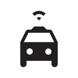 Self driving taxi - Glyph Icon - Black. Self driving, connected, smart, autonomous, driverless taxi Royalty Free Stock Photography