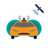 Self-driving taxi vector illustration. Future cab Stock Photos