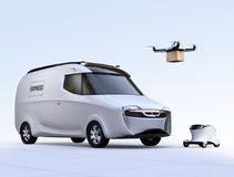 Self-driving van, drone and robot Stock Photography