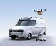 Self-driving van, drone and robot Stock Photos