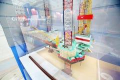 Self-elevating floating drilling rig Arcticheskaya stock image