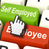 Self Employed Computer Means Choose Career Job Choice Royalty Free Stock Photo