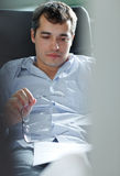 Self-employed man working at home. Using notebook. Relaxing Stock Image