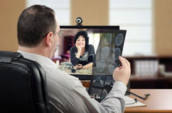 Self-employed virtual doctor analyzes brain x-ray Stock Photos