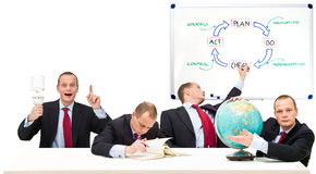 Self Employment. Conceptual image running a privately owned business, developing strategy in innovation. From left to right: Plan, Do, Check, Act. The strategic Royalty Free Stock Photo