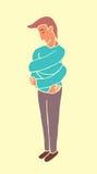 Self esteem. Cartoon guy hugging or comforting himself Stock Photography