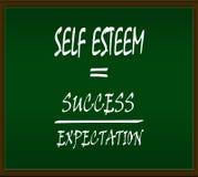 Self esteem. Formula on green background and brown frame stock illustration