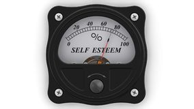 Self esteem indicator in action. The analog indicator is showing the level of SELF ESTEEM in percentages. Footage video vector illustration