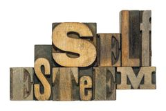 Self esteem isol. Self esteem phrase made from mixed wooden letterpress type isolated on white stock image