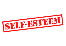 SELF ESTEEM. Red Rubber Stamp over a white background Stock Photo