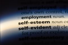 Self esteem. Word in a dictionary.  concept royalty free stock image