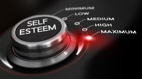 Self Esteem. Switch button positioned on the word maximum, black background and red light. Conceptual image for illustration of self esteem Royalty Free Stock Image