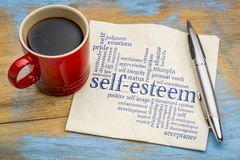 Self-esteem word cloud on napkin. Self-esteem word cloud - handwriting on a napkin with cup of coffee stock images