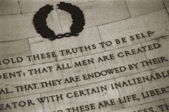 Self evident truth. We hold these truths to be self-evident: that all men are created equal, that they are endowed by their creator with certain inalienable Royalty Free Stock Photos