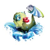 Self Fish Holding a Smart phone. Big red lips. Illustration  isolated on white background Royalty Free Stock Images