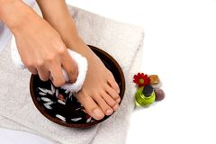Self foot massage royalty free stock image